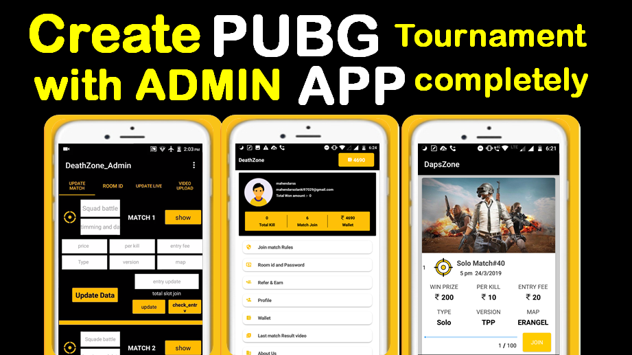 Pubg Tournament App Source Code with Admin Panel & One Page Website